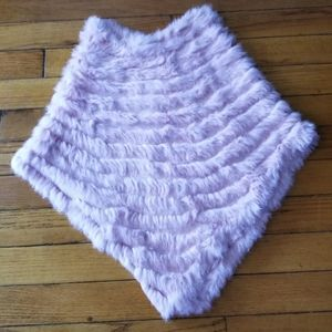 Sweaters - Pink Rabbit Fur Poncho